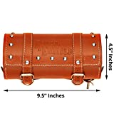 #6: AllExtreme Back Seat Economic price Round Saddle Bag for Royal Enfield Motorcycles (Brown, Small)