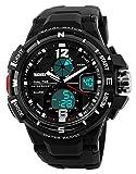 Herren Digitale Sportuhr – Outdoor analog militärisch 50M wasserdichte Uhr mit Doppelzeit LED Licht, große Anzeige Armbanduhr mit Wecker Woche für Herren