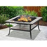 Centurion Supports Shango Barbecue/seau à glace/table basse/brasero multifonction en céramique de haute qualité pour jardin/patio/extérieur Noir