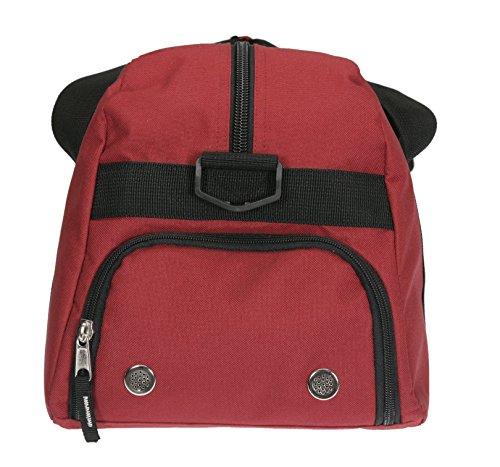 ELEPHANT Sporttasche mit Schuhfach / Naßfach Sport Tasche + Trinkflasche (FLOWER Lila-Pink) HEART Rot