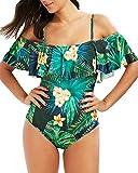 Mujer Volantes Imprimir Bañador Elasticidad Elegante Traje De Baño Bikinis Una Pieza Verde XL