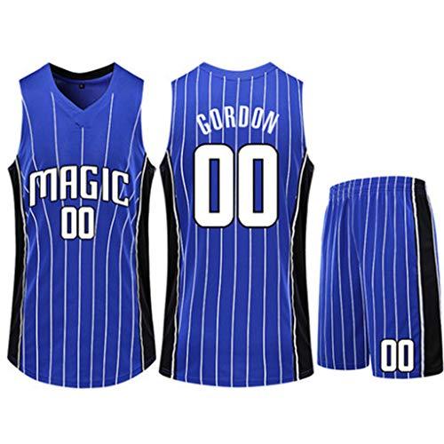Herren Basketball Jersey Orlando Magic Aaron Gordon # 00 Weiß Streifen Fans Basketball Wear ärmellose Sportbekleidung Zweiteiler Blau Größe 3XS ~ 5XL,2XS(136~144cm)