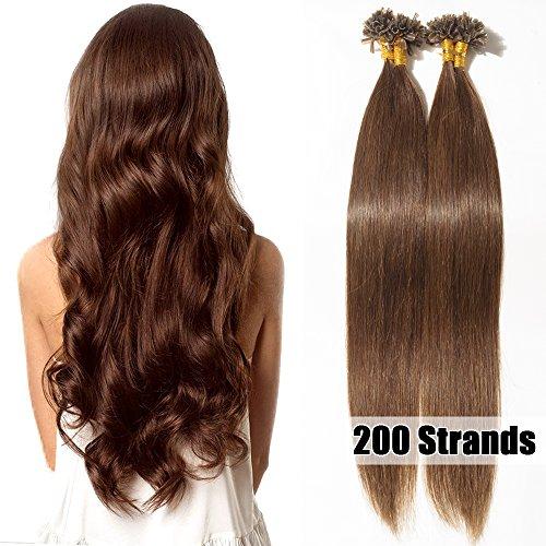 50cm extension capelli veri cheratina 200 ciocche 100g/pack u-tip allungamento remy human hair naturali, #4 marrone cioccolato