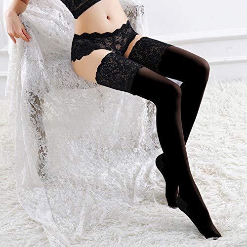 SHUN-BAO, Frauen Sexy Cuban Heel Back Seam Strümpfe Breite Schnürung Halten Silikon Floral Top Oberschenkel Hohe Strümpfe Über Kniestrümpfe (Color : Black) -