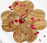 4 Olivenholzbrettchen HEARTBEAT. Dekorationsobjekt - Schneidebrett - Frühstücksbrettchen. Wunderschön gemasertes Olivenholz! 20 x 20 cm. 4er-Set!
