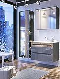 naka24 Badmöbel Set Galaxy-V 80 mit Waschbecken Keramik LED (Waschtisch, Spiegelschrank Hochschrank, GRAU Hochglanz/Eiche MATT)