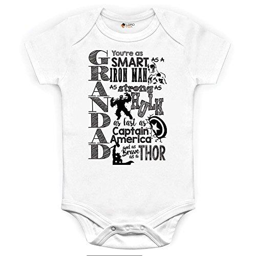 Marvel Comics Grandad Großvater Baby Grow Babybody Einteiler Iron Man Hulk Captain America Thor 0-3 Monate