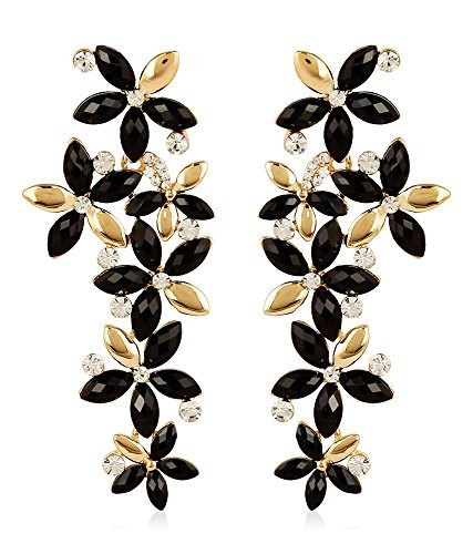 Youbella Hanging Gold-Plated Dangle & Drop Earrings For Girls And Women (Golden-Black)