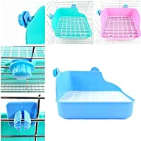 Toruiwa Haustier Töpfchen Quadratische Toilette Kleintierkäfige aus Kunststoff für Kaninchen Chinchillas Meerschweinchen Marder und Kleintie 28*22*15cm (Blau)