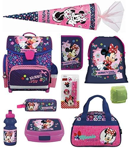 nzen-Set 13-TLG. Schultüte 85cm, Sporttasche, Federmappe und Regenschut,z rosa blau lila Maus ()