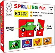 Play Poco Spelling Fun Type 1 - 150 Piece Spelling Puzzle - Learn to Spell 50 Three Letter Words - Beautiful C