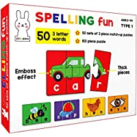 Play Poco Spelling Fun Type 1 - 150 Piece Spelling Puzzle - Learn to Spell 50 Three Letter Words - Beautiful Colorful…