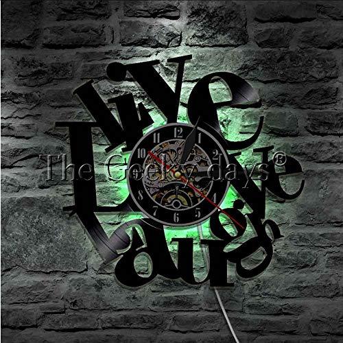 TIANZly Leben Lachen Liebe Schallplatte Wanduhr Schallplatte Lp Hängen Uhr Hängen Led Licht Zeichen Aufzug Haltung Wandkunst Dekoration Raumdekoration