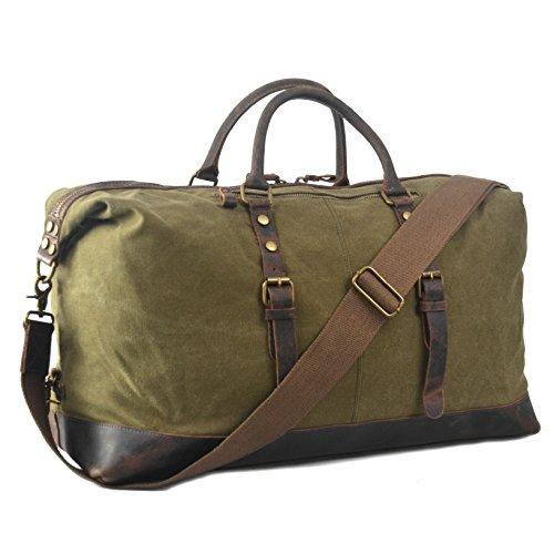 YANGYANJING Grande dimensione Durante la notte Weekend Satchel borse del sacchetto totes di cuoio Mens Canvas Borsone Duffle di corsa Verde