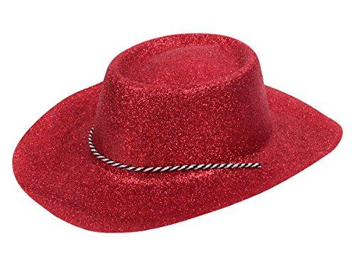 Alsino Cappello da Cowboy Cowgirl con Cordoncino Scintillante per Travestimento Costume Carnevale Halloween Serata Festa a Tema Taglia Unica Adulti Adolescenti, CW-53 scintillante rosso