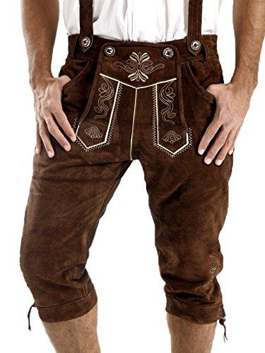 ALMBOCK Tracht Lederhose Herren | Kniebundhose Herren braun aus feinem und geschmeidigem Veloursleder | Lederhose original - Trachten Lederhose 58