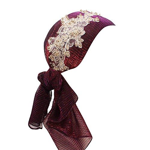 Muslim Damen Turban Hijab mit Silk Geblümt Retro Kopftuch Cap Islamischen Frauen Kopfbedeckung Stirnband Mütze Strecken Wrap Kappe (Violett)