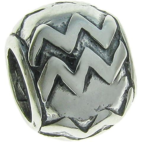 Queenberry in argento Sterling 925 segno zodiacale di Acquario con Charm per Pandora, Chamilia, Troll Biagi e altri bracciali simili di europea, - Live Love Laugh Bracciale