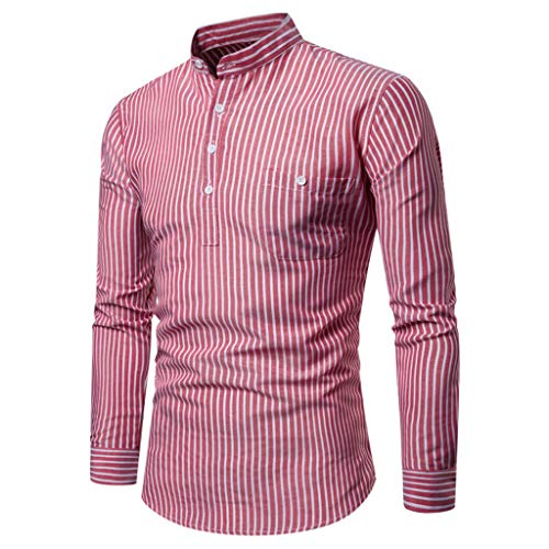 Stadt Plus Party Kostüm Größe - UINGKID Hemd Herren Slim-Fit Lange Hülsen-Streifen-lose beiläufige Hemd-Bluse