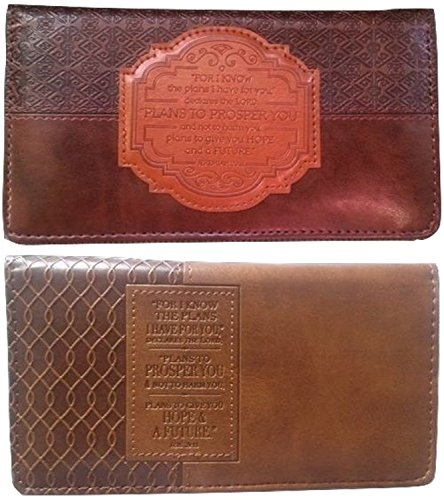 Men's Women's Christian Jeremiah 29:11 I Know the Plans Brown Lux Leather Checkbook Cover Bundle Pack (Loop Case Pack)