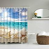 wifun conchas playa de arena mar Estrella de mar tela impermeable cortina de ducha baño decoración del hogar
