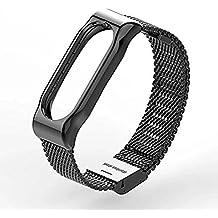 Xiaomi Mi Band 2 Polso Cinturino in metallo Pinhen pelle La cinghia di vita cinghia di metallo & Shell protettivo per Xiaomi Mi Banda 2 intelligente Miband Bracciale (Mesh Black)