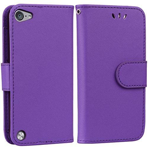 Yunbaoz iPod Touch 5/6 Lederhülle Rein Farbe Wallet Case Hülle Lila (4 Für Wallet Case Ipod Männer)