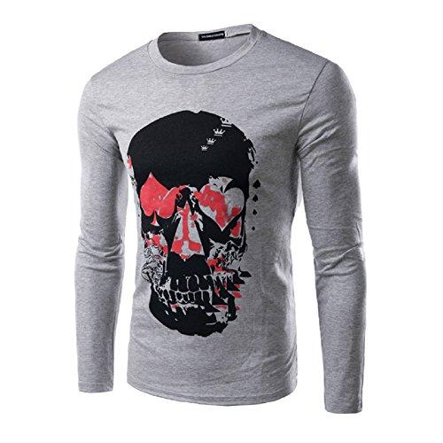 BOMOVO Herren Mode Longsleeve Langarm-T-Shirt Grau