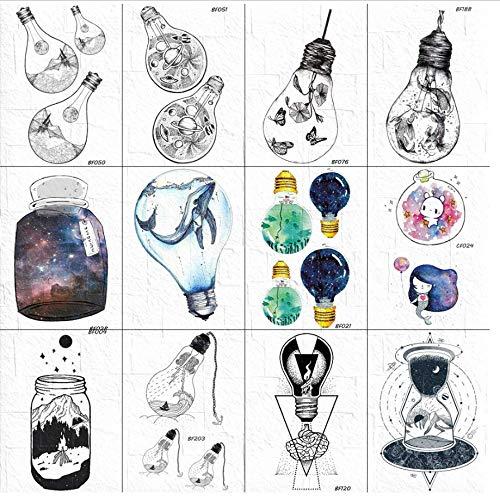 ruofengpuzi 3D Whale Bulb Temporäre Tätowierung Flash Weiblicher Körper Arm Galaxy Drifting Bottle Tattoo Aufkleber Sky Cartoon Girl Leg Tattoo Aufkleber (Cartoon Halloween-kid Filme)