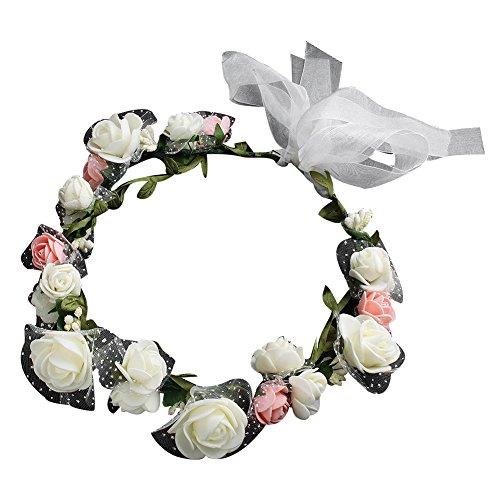 Homeofying Brautschmuck, künstliche Blumen, Blumen-Haarband, Kranz, Kopfbedeckung (Tote Oma Halloween)