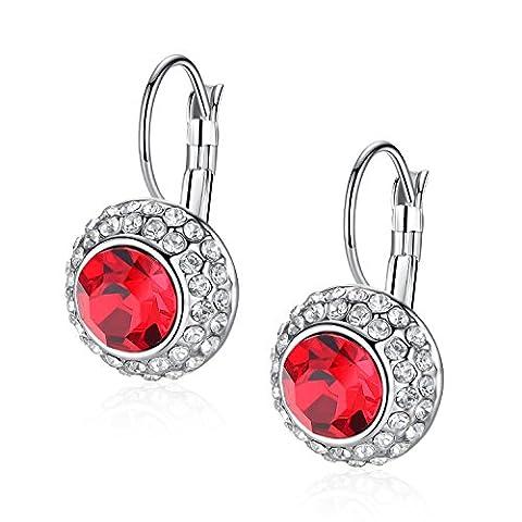 GoSparking Roter Kristall Weiß vergoldetes Ohrringe mit österreichischen Kristall für Frauen