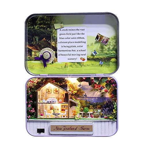Y handgefertigte Box Theater puppenhaus Miniatur Box Mini puppenhaus montieren Kits Geschenk Spielzeug für Kinder neuseeland Farm (Farbe: Multi-Color gemischt) ()