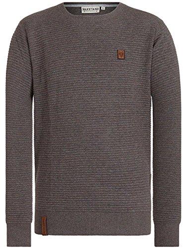 Naketano Male Knit Zapzarap Zip Zap IV fancy dark grey melange