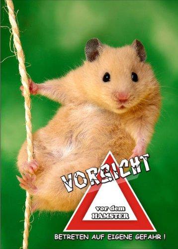 INDIGOS UG - Türschild FunSchild - SE832 DIN A5 laminiert ACHTUNG Hamster - für Käfig, Zwinger, Haustier, Tür, Tier, Aquarium (Geschlossen Hamster Käfige)