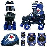 Sk8 Zone Jungen Blau Schwarz Rollschuhe Gepolstert Kinder Roller Stiefel Sicherheit Polster Helm Kinder Skate Set - Medium 13-3 (31.5-34.5 EU)
