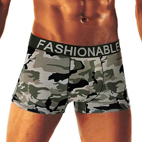 Herren Plus Size Tarn Boxershorts Herren Camouflage Weichen Baumwolle Fashion Unterhose Buchstabe Boxershort Panty (Color : A, Size : 3XL)