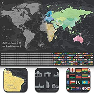 uranuspro - Scratch Off World Map/Detaillierte Rubbel Weltkarte im XXL Poster Format 84 x 60 Welteroberer und Reisebegeisterte