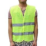 Sedeta Grüne Warnweste mit 2 Taschen Hochsichtbares Mesh-Tuch Motorradwesten für die Warnung des Flughafenarbeiters