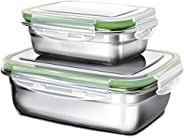 G.a HOMEFAVOR Lunch Box, Stainless Steel Bento Lunch Box Set, 2-Piece Food Fruit Salad Container for Kids & Adults (Single La