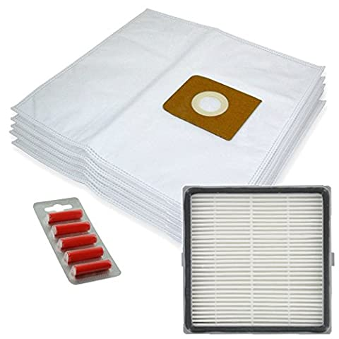 SPARES2GO Microfibre Cloth Bags + H13 HEPA Filter for Nilfisk King 500 Series Vacuum Cleaners (Pack of 5 + Filter Cartridge + Fresheners)