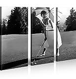 islandburner Bild Bilder auf Leinwand Audrey Hepburn V5 XXL Poster Leinwandbild Wandbild Dekoartikel Wohnzimmer Marke