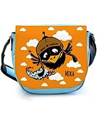 Kindergartentasche Kindertasche Umhängetasche Schultertasche Tasche Vogel mit Wolken und Wunschnamen kgt09