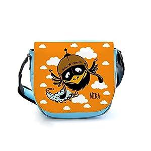 ilka parey wandtattoo-welt Kindergartentasche Kindertasche Umhängetasche Schultertasche Tasche Vogel mit Wolken und Wunschnamen kgt09