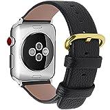 Fullmosa Compatible Bracelet Apple Watch 38mm (40mm Serie 4) Cuir,15 Couleurs Bracelet pour Apple Watch/iwatch Serie4,3,2,1 avec Métal Fermoir, 38/40mm Noir-Boucle dorée-adapteur Argent
