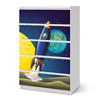 creatisto Möbeltattoo für Ikea Malm 6 Schubladen (Hoch) | Dekoration Klebefolie Möbel-Aufkleber Folie | Zimmer Gestalten Deko Artikel | Design Motiv Space Rocket