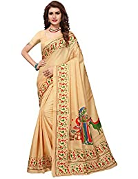 Pisara Women's Khadi Silk Kalamkari Printed Saree With Blouse Piece,Cream Sari