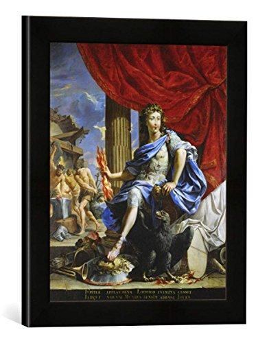 Gerahmtes Bild von 17. Jahrhundert Ludwig XIV. als Jupiter/Gemälde, Kunstdruck im hochwertigen handgefertigten Bilder-Rahmen, 30x40 cm, Schwarz matt