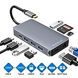 USB C HUB Hub di Rete LAN Gigabit Ethernet HDMI e RJ45, con 40 Gbps Thunderbolt 3, USB-C Power Delivery, Lettore di schede SD e Micro SD/TF, 4 Porte USB 3.0 e Adattatore di Rete 1000Mbps (Grigio)