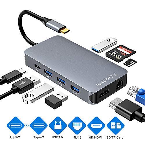 Comter USB C Hub, HDMI RJ45 Gigabit Ethernet LAN Hub