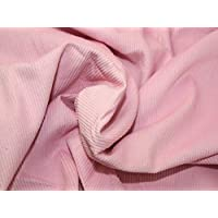 """1 Meter - Light Pink - Italian 100% Cotton Needle Cord Woven Corduroy Fabric Soft Upholstery Dressmaking Thin Cord Stripe Velvety Touch 150cm / 60"""" Width"""